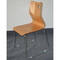 供应连锁快餐店餐椅 弯板曲木餐椅 不锈钢椅架餐椅