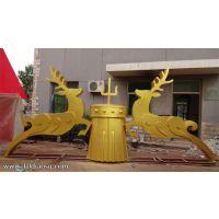 不锈钢鹿主题雕塑,曲阳雕塑厂家为内蒙古制作的不锈钢雕塑,抽象麋鹿