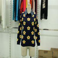 2015女式针织衫新款花朵图案修身韩版牛仔领圆领打底衫毛衣外套