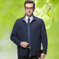 2015男夹克 商务春秋新款品牌男装夹克衫 中年薄款立领合体外套