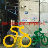 园林景观装饰彩色玻璃钢城市骑行绿地单车人雕塑 户外抽象人物人体雕塑