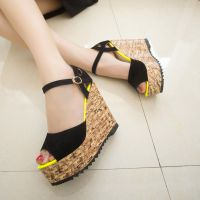 2014夏季新款韩国外贸坡跟鱼嘴凉鞋 女式厚底防水台罗马高跟女鞋