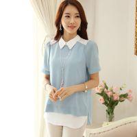 雪纺衫女2015夏季新款套头宽松大码韩版女装蕾丝衫中长款短袖上衣