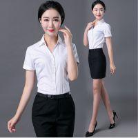 夏季职业白色衬衫女气质长袖修身衬衣女士OL面试工作服正装