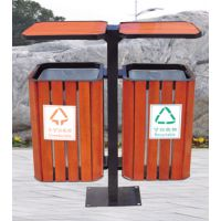 景区新款双桶钢木垃圾桶