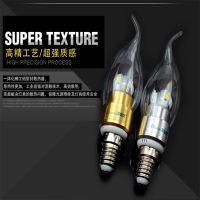 LED蜡烛灯 E14螺口拉尾 尖泡灯 360度发光电镀工节能 优惠大促