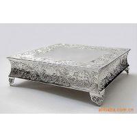 厂家直销 镀银方形蛋糕座/自助餐具/餐厅用品