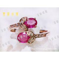 厂家直销 18k玫瑰金镶嵌天然缅甸红宝石 戒指女款 韩版 热卖