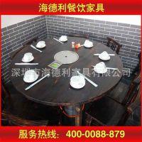 热卖 黑色实木圆桌 东北桦木东来顺火锅桌子 饭店餐桌椅 厂家定做
