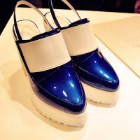 2015夏季新款凉鞋厚底粗跟尖头女鞋松糕跟真皮防水台高跟鞋