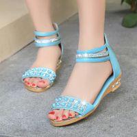 罗马女式凉鞋韩版2015夏季新款低跟坡跟鞋学生鞋水钻女鞋潮平底鞋
