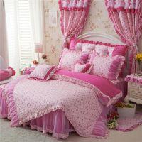 新款全棉蕾丝四件套 韩式公主床上用品 纯棉蕾丝婚庆套件特价批发