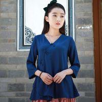 静燃中式改良棉麻简约手工盘扣斜襟七分袖纯色开衫女衬衫打底衫