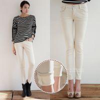 韩国紧身显瘦白色黑色高腰加绒加厚牛仔裤女铅笔小脚裤