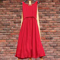 中式文艺高腰红色棉麻连衣裙森女风修身长裙