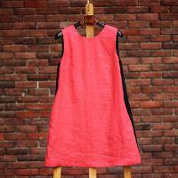 新款亚麻文艺修身圆领无袖红黑撞色连衣裙赢唐服饰