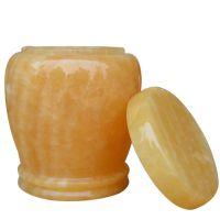 米黄玉客厅装饰摆件高档琉璃玉茶叶罐孝敬长辈赠好友气派工艺礼品