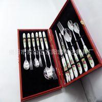 陶瓷不锈钢餐具套装 高档木盒12件组合餐具