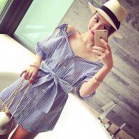 小银子2015夏装新款韩版范竖纹显瘦宽松露肩衬衫厂家直销B