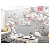 3D圆点立体画 手绘丝绸现代电视背景墙花卉无纺布浮雕壁纸