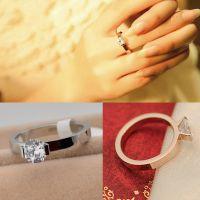 一克拉钻戒指 钛钢玫瑰金单钻婚戒 韩版微镶钻18K锆石 电影饰品