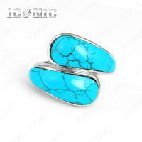 欧美流行首饰 不锈钢个性绿松石女士戒指 钛钢饰品批发零售定做