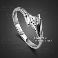 瑞丽优雅钻石指环女 绝代风华925纯银镀白金戒指 结婚礼物首饰