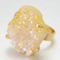 欧美外贸eBay 速卖通 水晶戒指 天然 水晶晶牙戒指 不规则