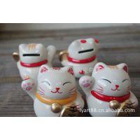 供应陶瓷招财猫系列储蓄罐 套4装 创意招财猫系列工艺品7805 小瓷罐