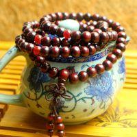 正宗红檀木佛珠手链批发 绕圈佛珠手串 越南红木首饰品 保健饰品