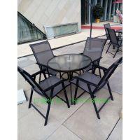 昆明户外休闲促铝桌椅 四把特斯林布椅子配钢化桌子,商务感更强