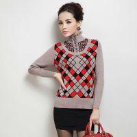 2014秋冬女装针织衫 修身长袖荷叶领打底衫格纹套头毛衣女衫针织