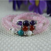 【新品】天然粉水晶手链绿松石砗磲紫晶红玛瑙混搭原创手链