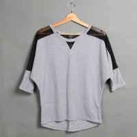 2015欧美新品发布 女士R**21圆领短袖针织纱网蝙蝠衫T恤