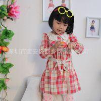 欧美流行女童秋装新款格子珍珠针织连衣裙 厂家直销