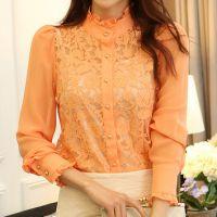 秋装新款韩版时尚立领长袖蕾丝打底衫蕾丝长袖上衣