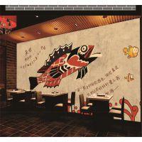 景灿大型3D整张舌尖上的中国特色美食小吃碳烤鱼壁纸 无纺布壁画 5D立体手绘涂鸦水泥墙背景墙纸