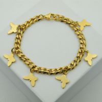 EBEY速卖通外贸货源 蝴蝶DIY钛钢镀金色手链S.STEEL BRACELET