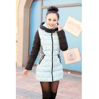 2014韩国女装秋冬新品中长款时尚修身连帽羽绒棉棉衣 女棉服爆款