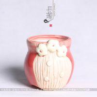韩国雕刻多肉花盆桌面绿植花器陶瓷手绘花盆 家居装饰园艺饰品103