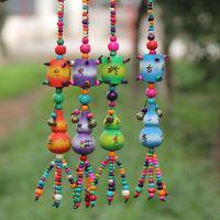 云南民族手工葫芦工艺品 木质挂件 七彩彩绘 葫芦批发 挂饰