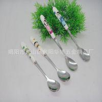 一家亲图案勺子 布轮光长柄大圆勺 礼品不锈钢大勺