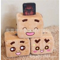 卧室装饰用品创意可爱卡通造型手机座 毛绒方形软情侣手机座定制