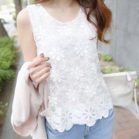 厂家直销春夏新款2015韩版大码无袖打底衫 修身蕾丝背心女雪纺