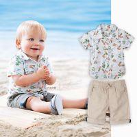 2015-XZ024茜吉可可爆款 欧美男童短袖夏款衬衣裤子套装