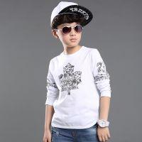 童装男童 2015春季新款中大男孩时尚印花长袖T恤 儿童纯棉打底衫