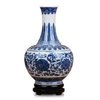 景德镇陶瓷器 仿古青花缠枝莲方肩天球瓶 家居中式古典摆件设厂家