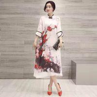 中国风真丝气质连衣裙上海品牌女装桑蚕丝连衣裙批发