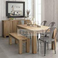 美式乡村北欧实木复古高级定制木蜡油生态家具餐桌餐边柜套装