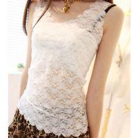 新款全蕾丝超薄波浪边背心 蕾丝花朵修身显瘦打底衫